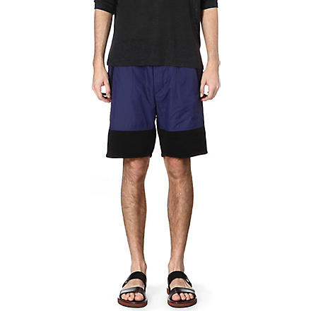 ACNE Michigan nylon panel sweat shorts (Blue/black