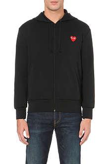 COMME DES GARCONS PLAY Heart-appliqué zip-up hoody