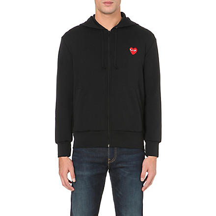 COMME DES GARCONS PLAY Heart-appliqué zip-up hoody (Black