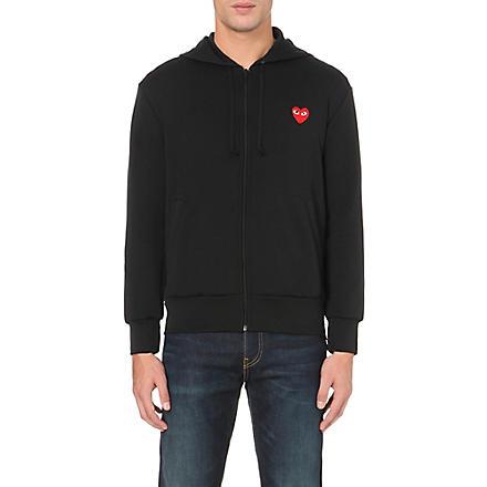COMME DES GARCONS PLAY Heart-appliqué zip-up hoody (Black