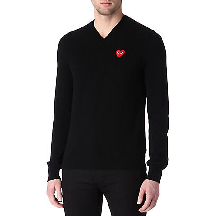 COMME DES GARCONS PLAY Heart knitted jumper (Black