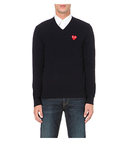 COMME DES GARCONS PLAY Play heart logo wool jumper (Navy