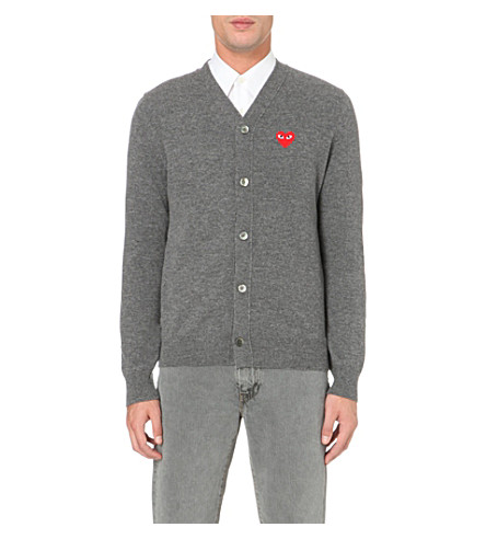 COMME DES GARCONS PLAY Play heart logo knitted cardigan (Grey