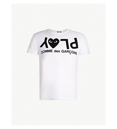 COMME DES GARCONS PLAY 徽标打印平纹针织棉 T 恤 (白色