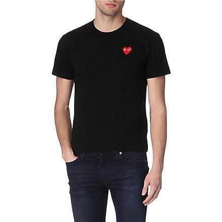 COMME DES GARCONS PLAY Heart-appliqué t-shirt (Black