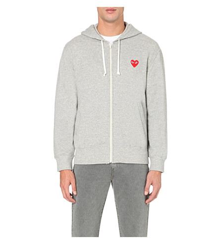 COMME DES GARCONS PLAY Heart-appliqué zip-up hoody (Top+gray