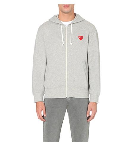 COMME DES GARCONS PLAY Heart-appliqué zipper-up hoody (Top+gray