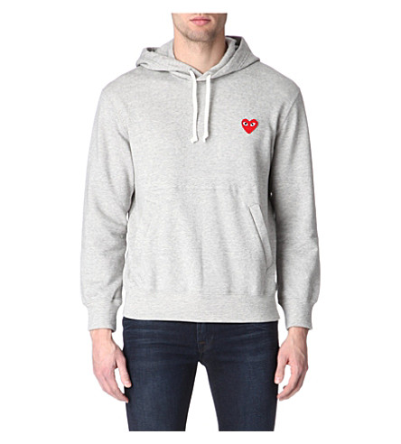 COMME DES GARCONS PLAY Heart-appliqué hoody (Grey