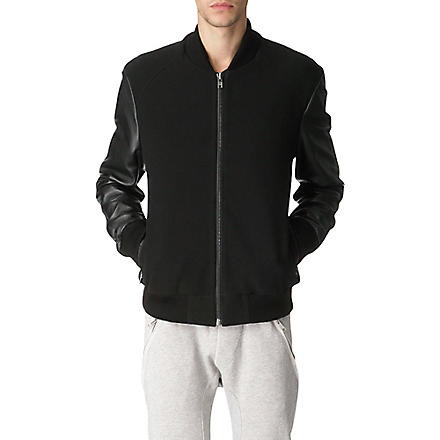 BLOOD BROTHER Leather-sleeved varsity bomber jacket (Black / black