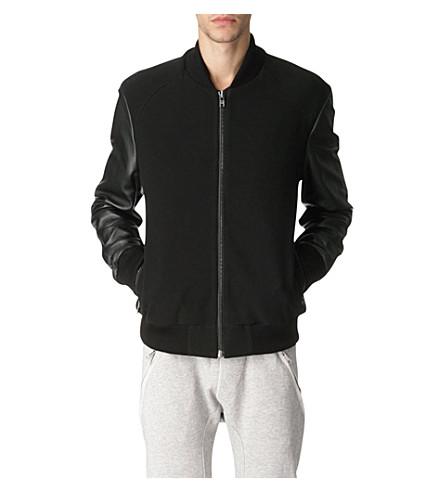 BLOOD BROTHER Leather-sleeved varsity bomber jacket (Black / black