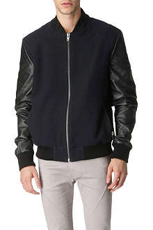 BLOOD BROTHER Leather-sleeved varsity bomber jacket