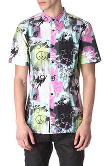 BLOOD BROTHER Peace print cotton shirt
