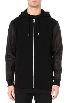 BLOOD BROTHER Bain leather-sleeve hoody