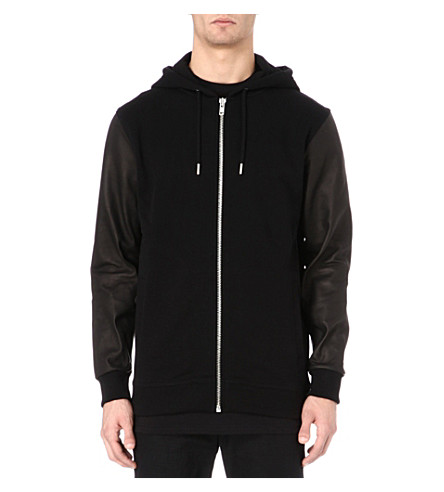 BLOOD BROTHER Bain leather-sleeve hoody (Black