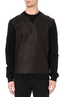 BLOOD BROTHER Bain leather-panelled sweatshirt