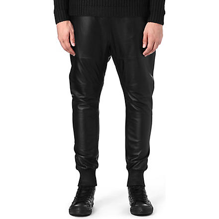 BLOOD BROTHER Leather jogging bottoms (Black