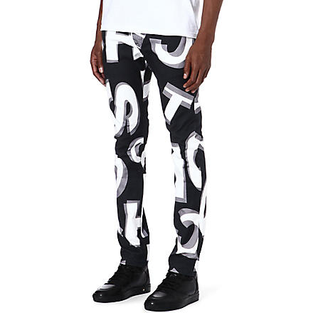BLOOD BROTHER Printed slim-fit tapered jeans (Black