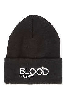 BLOOD BROTHER Embroidered logo beanie hat