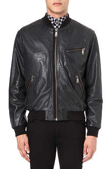 MCQ ALEXANDER MCQUEEN Leather baseball jacket