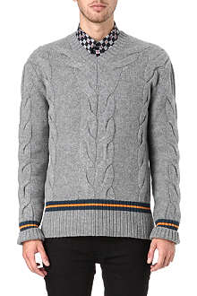 MCQ ALEXANDER MCQUEEN Striped cable knit jumper