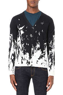 MCQ ALEXANDER MCQUEEN Paint-splattered knitted cardigan
