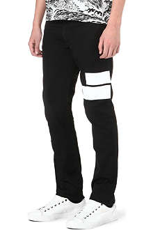 KENZO Tape panel slim-fit tapered jeans