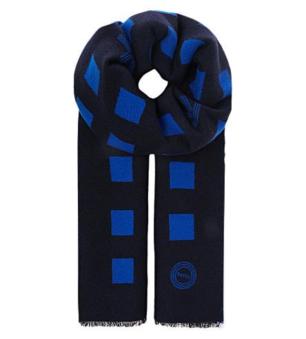 KENZO Squares wool scarf (Blue