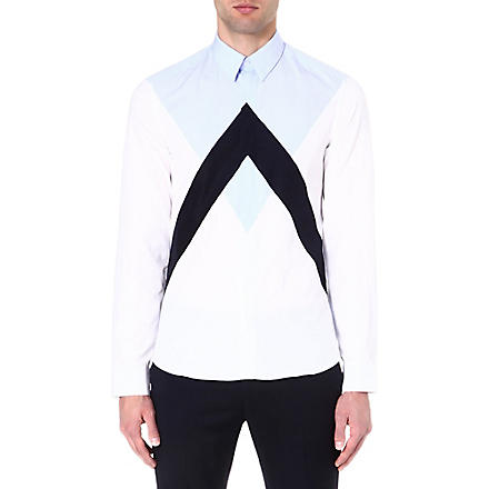 KENZO Panelled colourblocked shirt (White