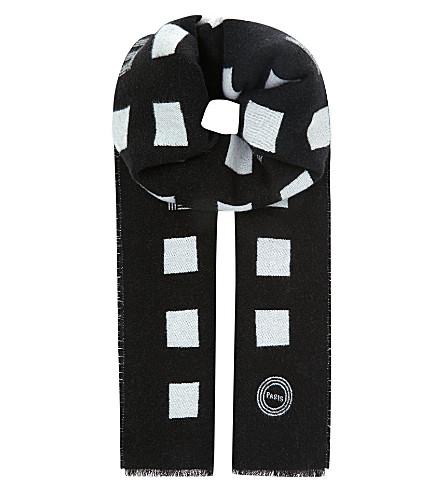 KENZO Squares wool scarf (Black