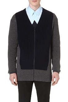 KENZO Colour-blocked ribbed-knit cardigan