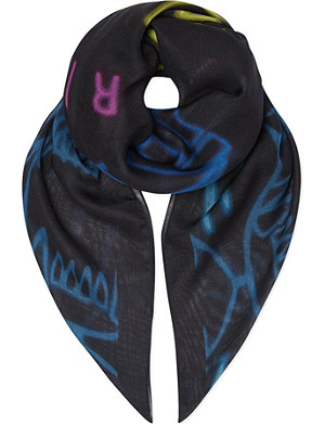KENZO Cotton tiger logo scarf