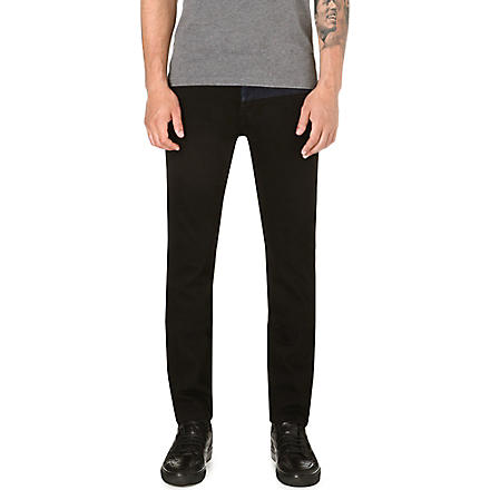 KENZO Contrast-panel slim-fit tapered jeans (Black