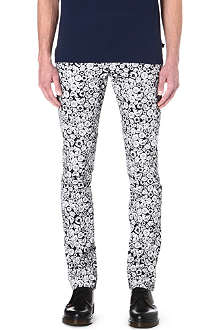KENZO Tiger-print slim-fit straight jeans