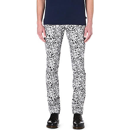 KENZO Tiger-print slim-fit straight jeans (Black