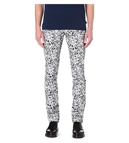 KENZO Tiger-print slim-fit straight jeans (Black