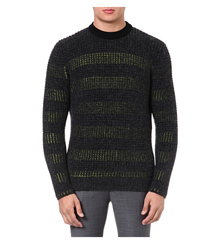 KENZO Striped waffle-knit jumper (Anthracite