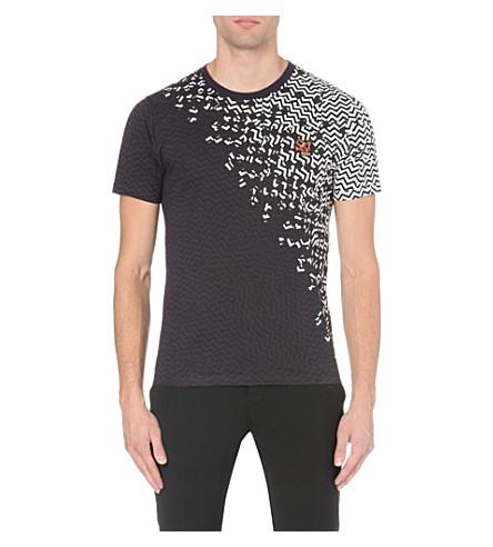 KENZO Diagonal zig-zag t-shirt (White/grey