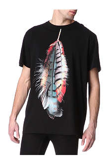 MARCELO BURLON Feather-print t-shirt