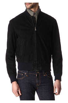 HUNTER GATHER Suede bomber jacket