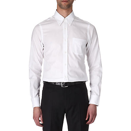 HUNTER GATHER Slim-fit single-cuff poplin shirt (White