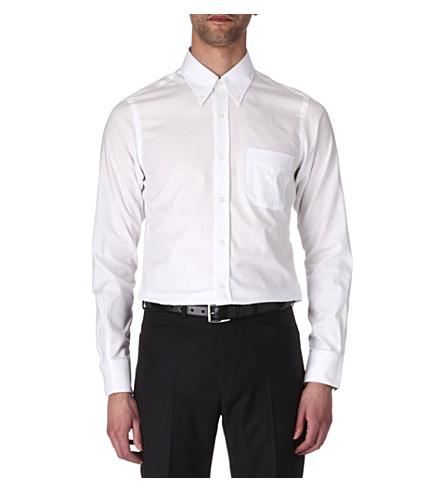 HUNTER GATHER Slim-fit single-cuff poplin shirt (White