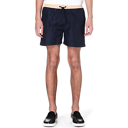 MSGM Floral stripe shorts (Navy