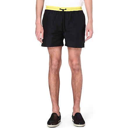 MSGM Floral stripe shorts (Black
