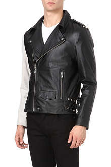 OAK Contrast sleeve leather jacket