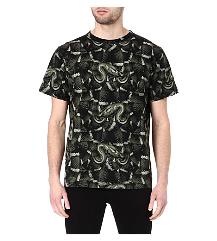 MARCELO BURLON Snake cotton t-shirt (Black/green
