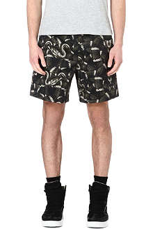 MARCELO BURLON Snake-print cotton shorts