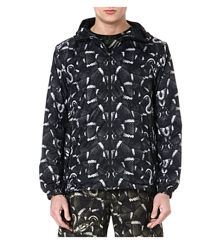 MARCELO BURLON Snake-print waterproof jacket (Black/white