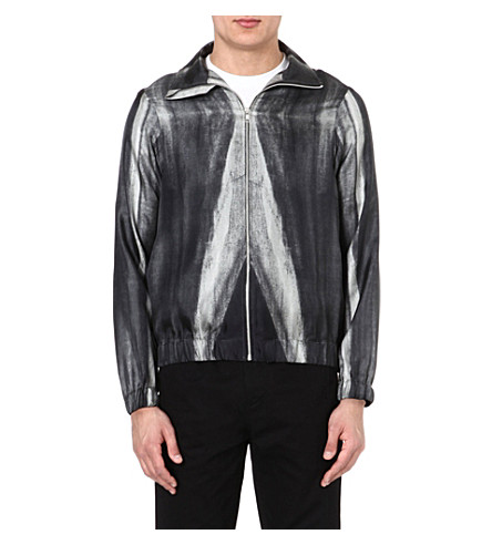 PIGALLE Dégradé silk bomber jacket (Black/white