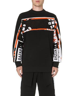 BAZAR-14 Knitted-panel sweatshirt