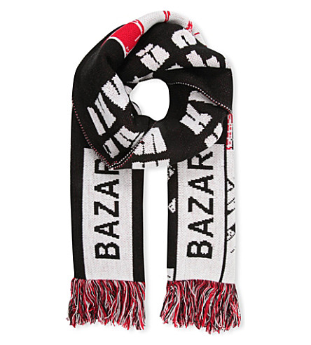 BAZAR-14 Text print scarf (Black